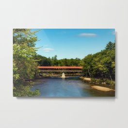 Saco River, New Hampshire Covered Bridge Metal Print