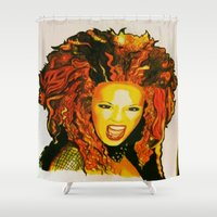 spice Shower Curtains featuring Scary Spice by The Expression Studio
