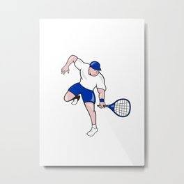 Tennis Player Racquet Cartoon Metal Print