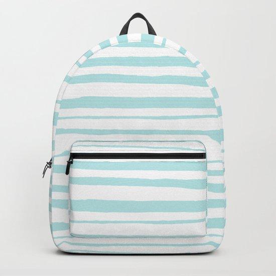Handmade aqua turquoise Stripes on white - Maritime pattern Backpack