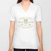 dentist V-neck T-shirts featuring Amazing and Painless Surgeon Dentist Dr King Schules by jekonu