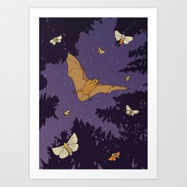Bat & Moths Art Print
