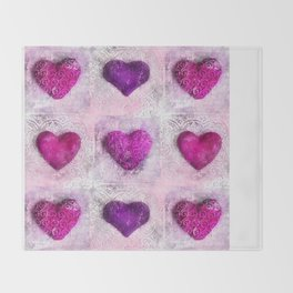 Pink Passion colorful heart pattern Throw Blanket