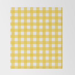 White & Yellow Gingham Pattern Throw Blanket