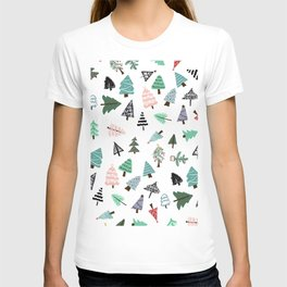 Cute whimsical Christmas trees pattern illustration T-shirt