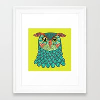 lime green Framed Art Prints featuring owl - Lime green by bluebutton studio