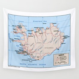 Map of Iceland (1981) Wall Tapestry