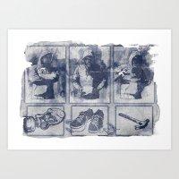 blueprint Art Prints featuring Vigilante Blueprint by Matthew Dunn