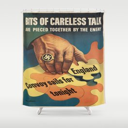 Vintage poster - Careless Talk Shower Curtain