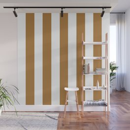 Durian brown -  solid color - white vertical lines pattern Wall Mural