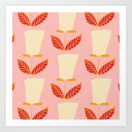 Retro Botanical Mid century Tulip  Pink Art Print