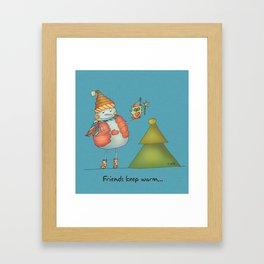 Friends keep warm Framed Art Print