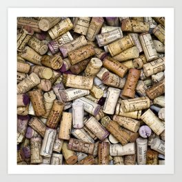 Fine Wine Corks Square Art Print