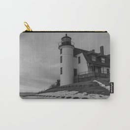 Point Betsie Lighthouse in black and white Carry-All Pouch