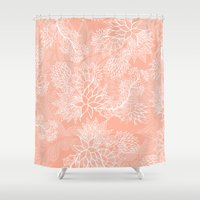 aelwen Shower Curtains featuring Chic hand drawn floral pattern on pink blush by Girly Trend