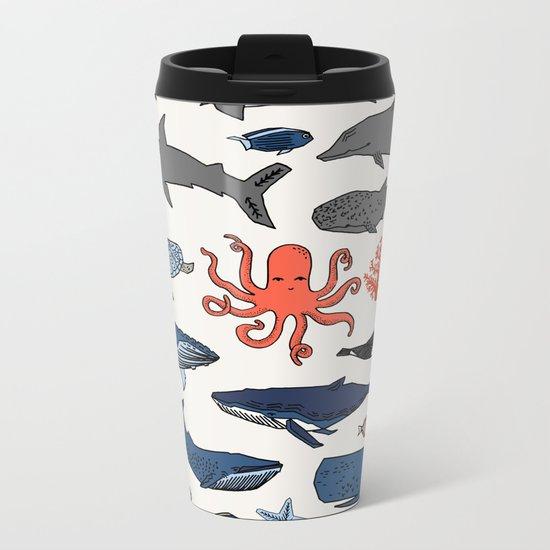 Ocean Animals  Metal Travel Mug