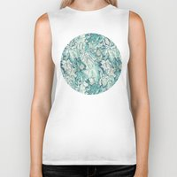 fig Biker Tanks featuring Fig Leaf Fancy - a pattern in teal and grey by micklyn