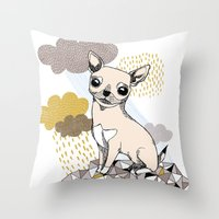 chihuahua Throw Pillows featuring Chihuahua by Camille Roy