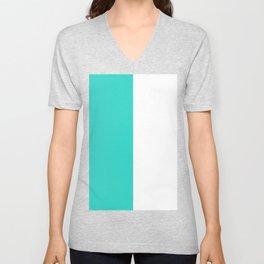 White and Turquoise Vertical Halves Unisex V-Neck