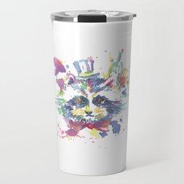 Watercolor Racoon Floral Animal Travel Mug