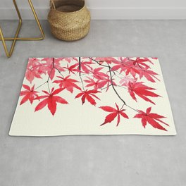 red maple leaves watercolor painting Rug