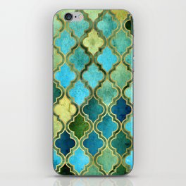 Moroccan Quatrafoil Pattern, Vintage Stained Glass, Blue, Green and Gold iPhone Skin