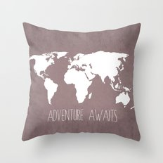 Adventure Awaits World Map Throw Pillow