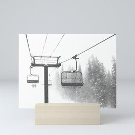 Chairlift Abyss // Black and White Chair Lift Ride to the Top Colorado Mountain Artwork Mini Art Print