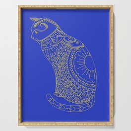 Doodled cat in golden yellow and blue. Serving Tray