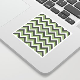 Green Charcoal and White Chevrons Sticker
