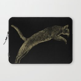 Abyssinian cat  jumping cracked metallic texture Laptop Sleeve