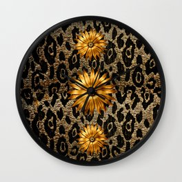 Animal Print Cheetah Triple Gold Wall Clock