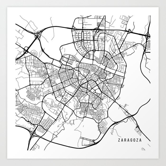 Map Of Spain Drawing.Zaragoza Map Spain Black And White Art Print By Mainstreetmaps