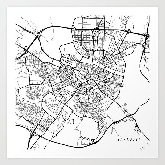 Zaragoza Map Of Spain.Zaragoza Map Spain Black And White Art Print By Mainstreetmaps
