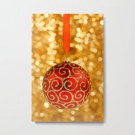 Christmas Bauble on Gold  Metal Print