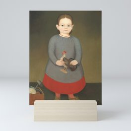 Girl with Toy Rooster Vintage Painting Mini Art Print