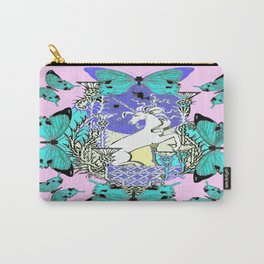 Turquoise Butterflies & Purple-Pink Unicorn Art Carry-All Pouch
