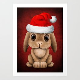 Cute Floppy Eared Baby Bunny Wearing a Santa Hat Art Print