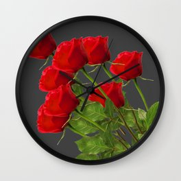 BOUQUET OF  RED LONG STEM ROSES  DESIGN Wall Clock