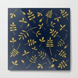 Gold Leaves Design on Dark Blue Metal Print