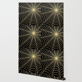 Spiderweb   Gold Glitter Wallpaper