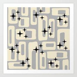 Retro Mid Century Modern Abstract Pattern 576 Gray Black Art Print