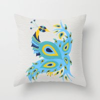 peacock Throw Pillows featuring Peacock by Cat Coquillette