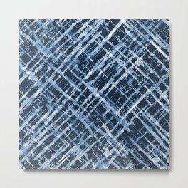 Criss Cross Watercolor Stripes Metal Print