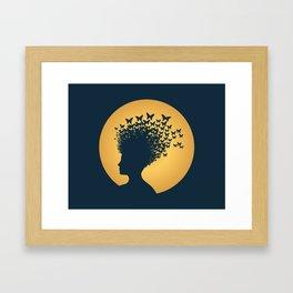 Woman and Butterflies Framed Art Print