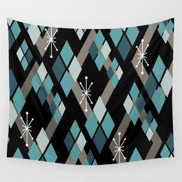 Mid Century Modern Diamonds (Black) Wall Tapestry