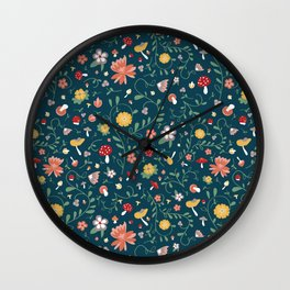 Delicate Mushroom and Floral Kitchen Print Wall Clock