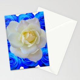 DECORATIVE WHITE & BLUE ROSES GARDEN ART Stationery Cards