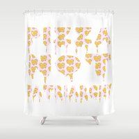 patriarchy Shower Curtains featuring Pizza Not Patriarchy by theagenda