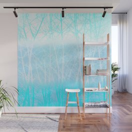 Frosted Winter Branches in Misty Blue Wall Mural